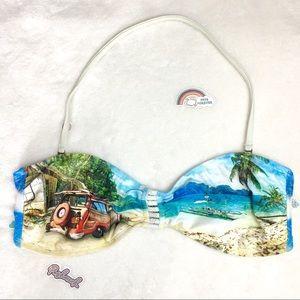 Hobie vintage car print bikini swimsuit top xl